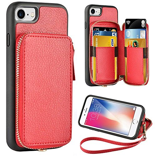 ZVE Wallet Case for Apple iPhone 8 and iPhone 7, 4.7 inch, Zipper Wallet Case with Credit Card Holder Slot Handbag Purse Wrist Strap Protective Case for Apple iPhone 8/7 4.7 inch - Red - Apple Womens Wallet