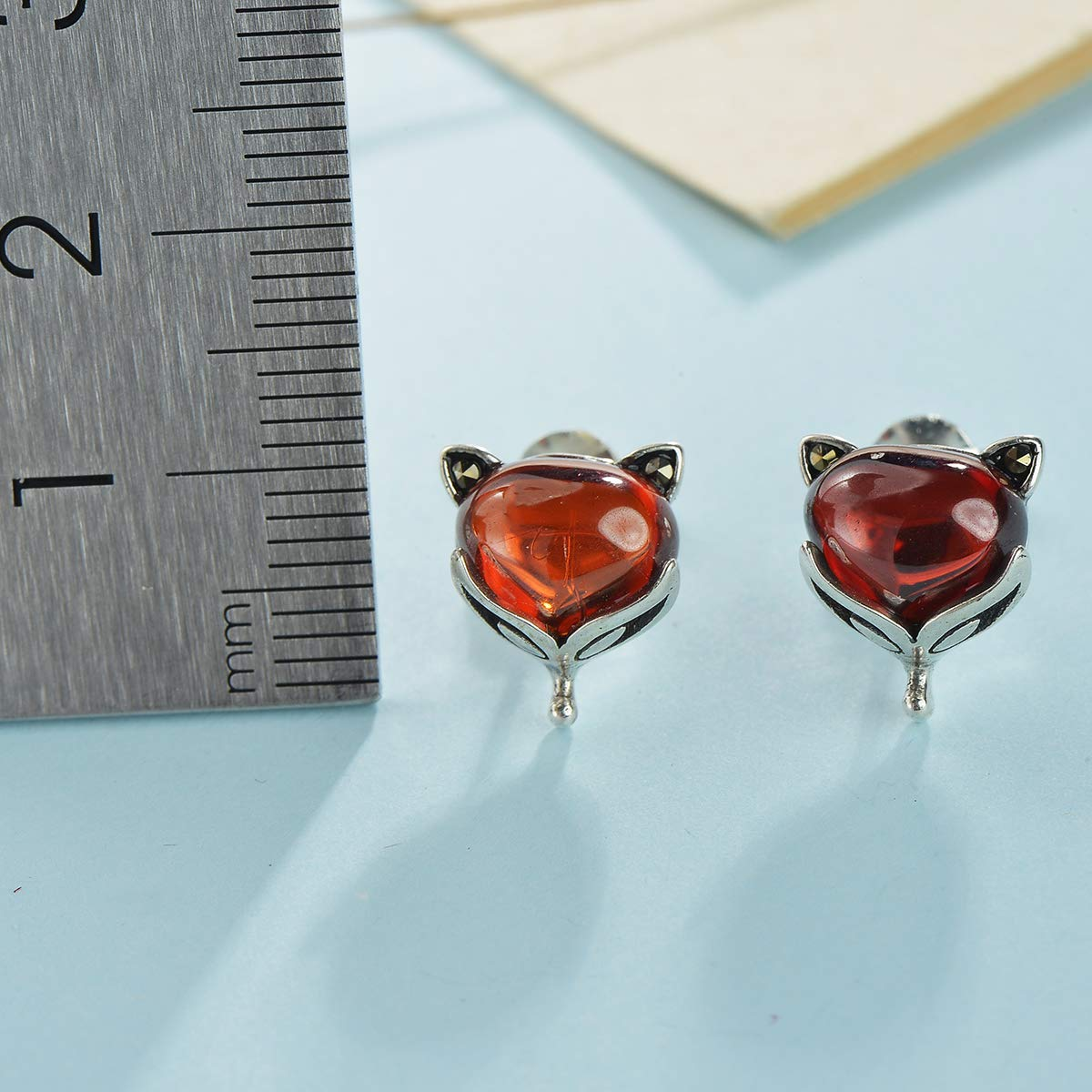 Chic4K Sterling Silver Crystal Fox Stud Earrings January Red Cute Animal Ear Studs