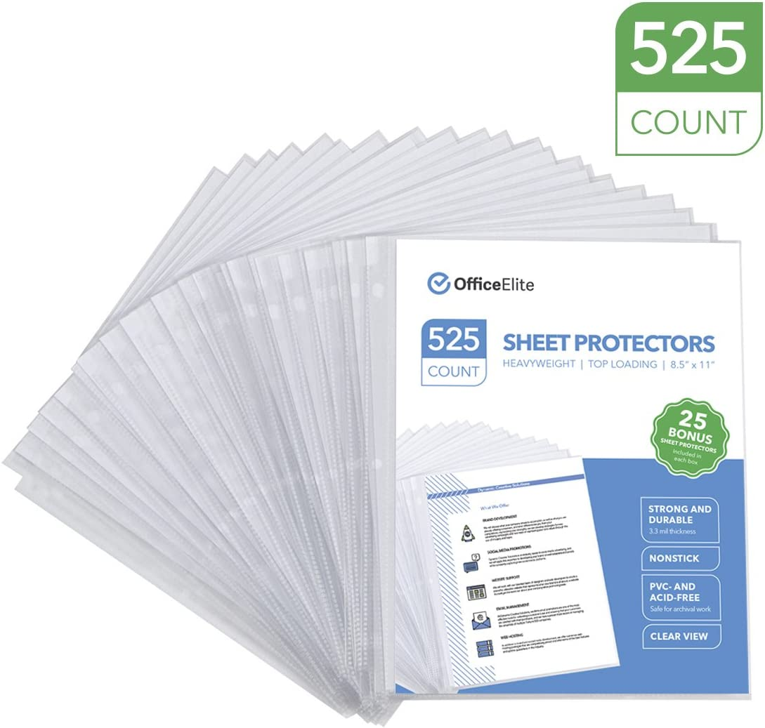 "525 Clear Heavyweight Sheet Protectors - 3.3 MIL Thickness - Reinforced 3 Hole Design - Protects Photos and 8.5"" x 11"" Documents - Top Loading - Archival Safe - PVC and Acid Free - Box of 525"