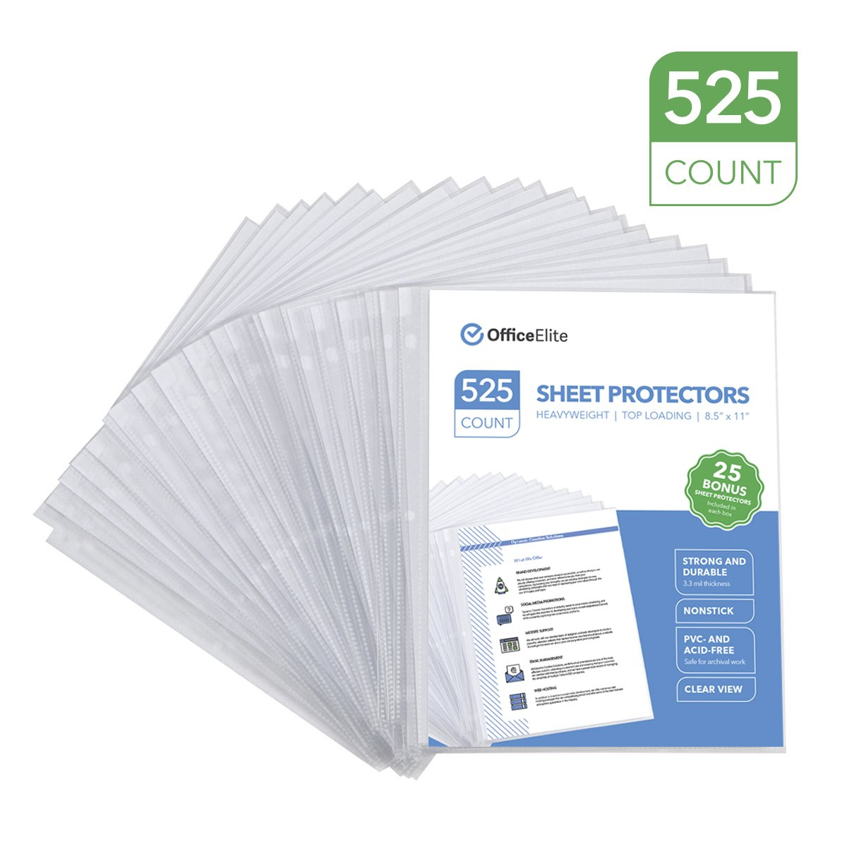 """525 Clear Heavyweight Sheet Protectors - 3.3 MIL Thickness - Reinforced 3 Hole Design - Protects Photos and 8.5"""" x 11"""" Documents - Top Loading - Archival Safe - PVC and Acid Free - Box of 525"""