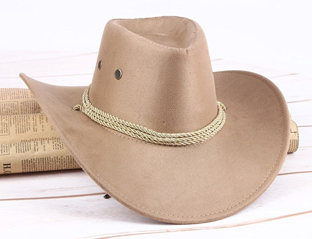 9e9e2ae3b8e UwantC Mens Faux Felt Western Cowboy Hat Fedora Outdoor Wide Brim Hat with  Strap Beige at Amazon Men s Clothing store