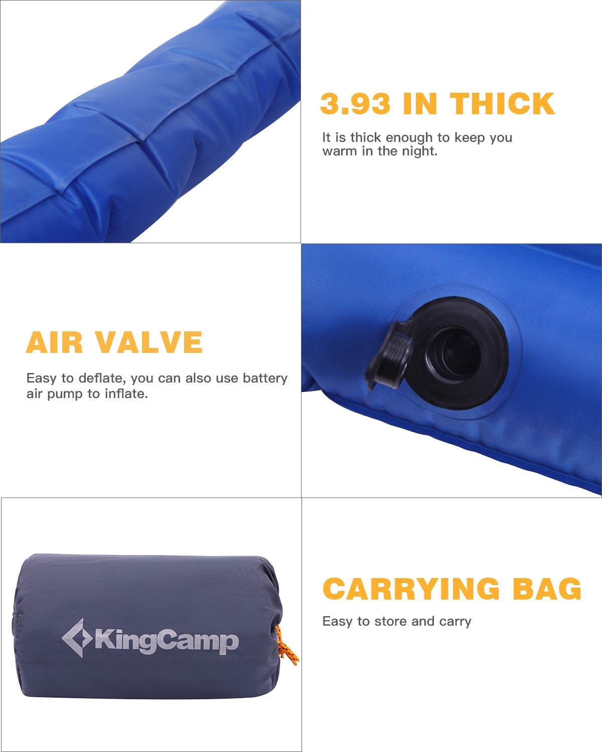 Single and Double Two Size KingCamp Light Camping Sleeping Air Mattress Pad with Built-in Foot Pump