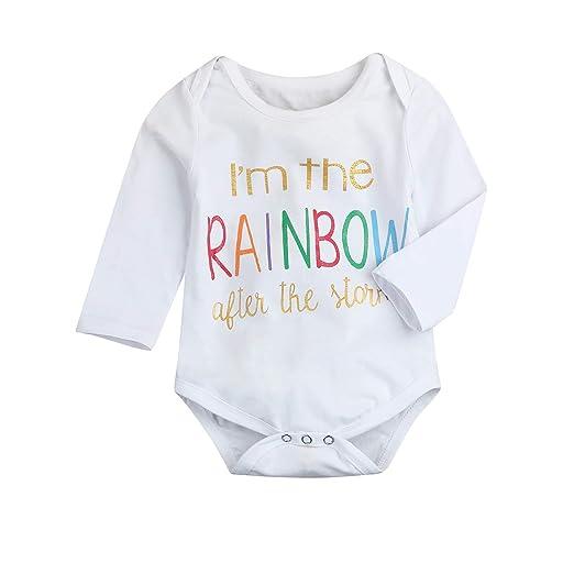 695f6238c1b KONIGHT Newborn Infant Baby Boys Girls Cute I m The Rainbow Letter Print  Cotton Rainbow
