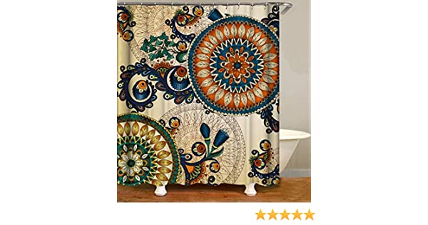 YUYASM Colorful Ethnic Shower Curtain Decor,Vintage Abstract Flower Bird Bohemian Floral with Peacock Feather Fabric Bathroom Curtains,Waterproof Polyester Bath Curtain Set with Hooks 70x70 Inch
