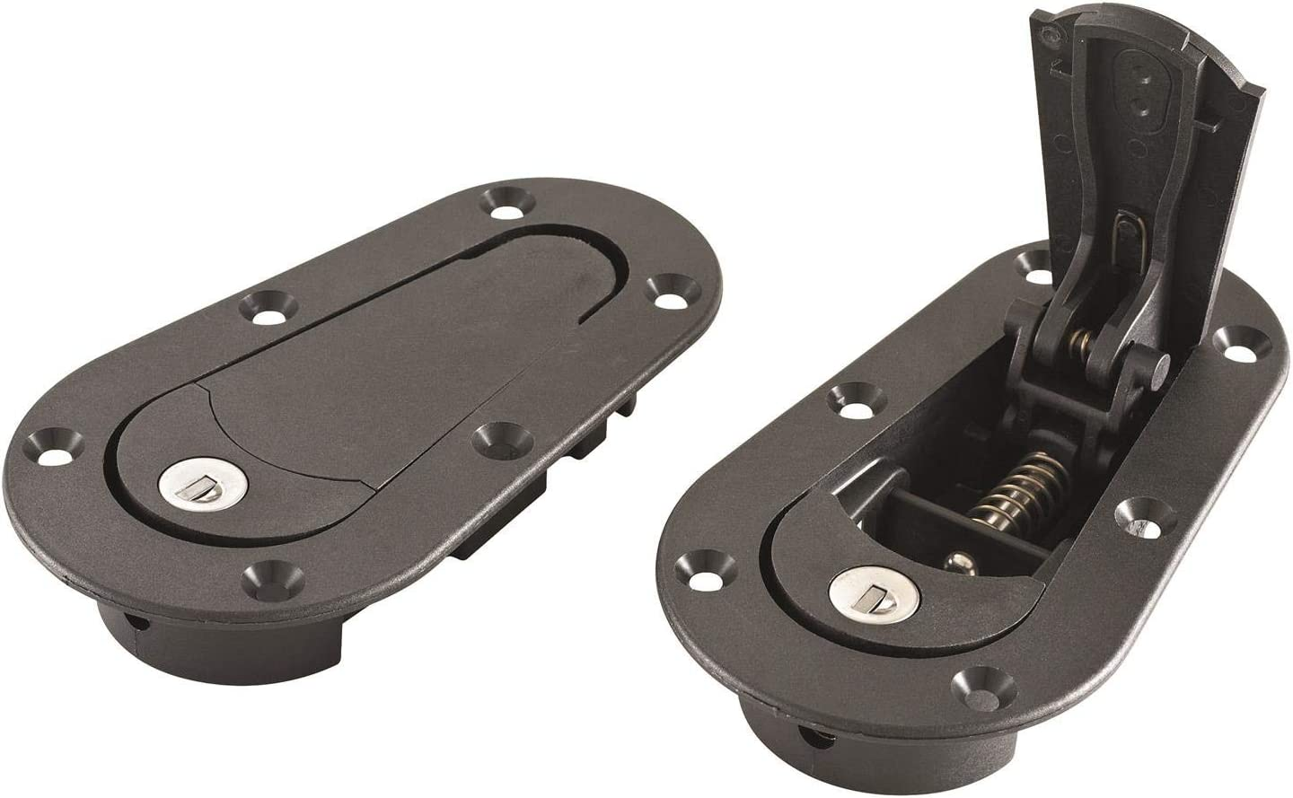 Part # 120-2000 Now includes Molded Fixing Plates AeroCatch Plus Flush Hood Latch and Pin Kit Black