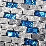 Glass Backsplash Ocean Blue Glass Nature Stone Tile Kitchen Backsplash 3D Bath Shower Accent Wall Decor Gray Wave Marble 1 x 2 Subway Art Mosaics TSTNB03 (1 Sample [3'' x 6''])
