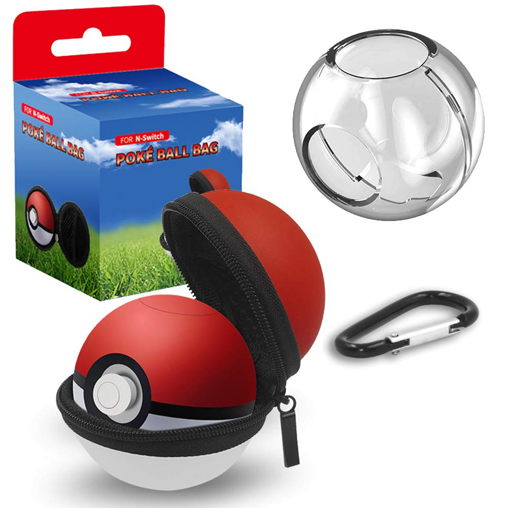 Carrying Case for Nintendo Switch Poke Ball Plus Controller, 2 in 1 Accessory Portable Carry Case for Pokémon Let's Go Pikachu and Let's Go Eevee Game