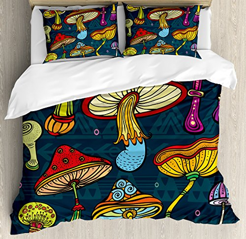 Ambesonne Mushroom Duvet Cover Set Queen Size by, Set of Stylized Mushrooms Ornate Doodles Swirls Eyes Psychedelic Botany Growth, Decorative 3 Piece Bedding Set with 2 Pillow Shams, Multicolor (Doodle Swirls)