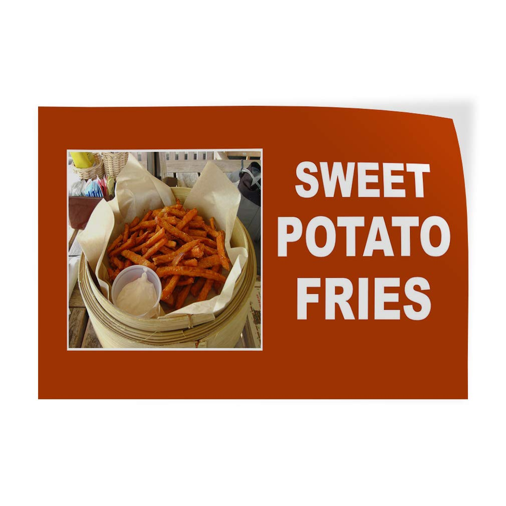 Decal Sticker Sweet Potato Fries Orange White Food & Beverage Sweet Potato Fries Outdoor Store Sign (Multiple Sizes Available) - 66inx44in, Set of 2