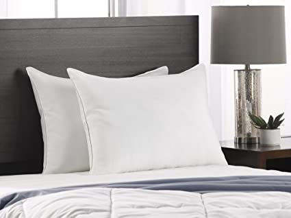 Exquisite Hotel Soft Queen Size Bed Pillows  2 Pack White Hotel Pillows   Gel Fiber