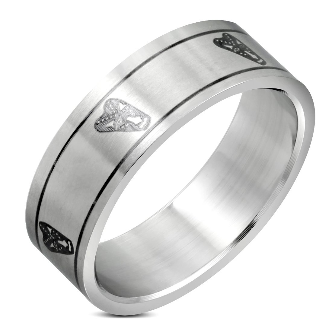 Stainless Steel Matte Finished 2 Color Wizard Mask Flat Band Ring