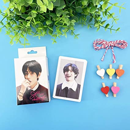 7 Photo Lomo Cards per confezione Zhenzhiao Kpop Card MAP of The Soul carta adesiva con clip e corda di canapa set regalo per A.R.M.Y 30 pz//set 1 unit