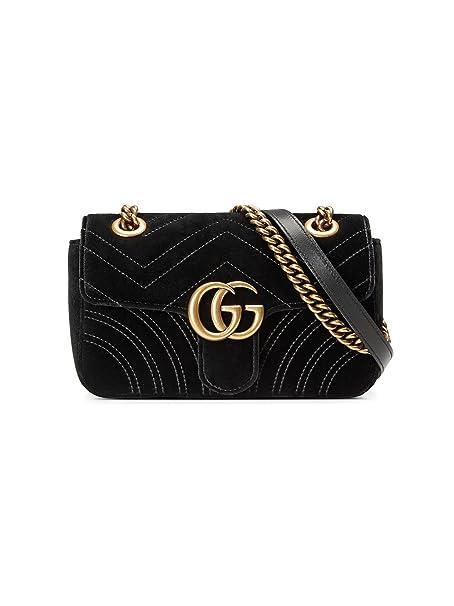 Gucci Borsa A Spalla Donna 446744K4D2T1000 Velluto Nero  Amazon.it   Abbigliamento f8094be07e9d