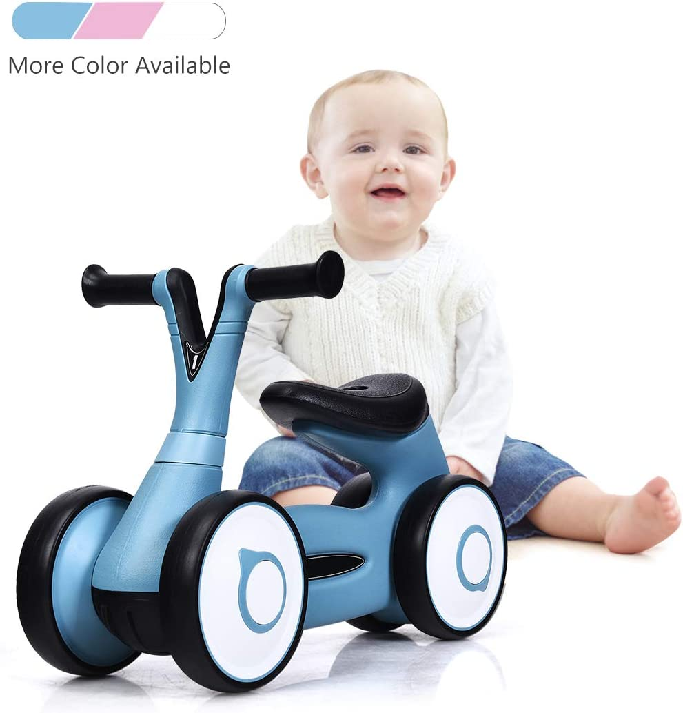 Baby Joy Baby Balance Bike, Toddler Walker Bike No Pedal, Kids Bicycle 4 Wheels Toys for 1-3 Years Old, Children First Birthday Gifts Indoor Outdoor, ASTM Certification