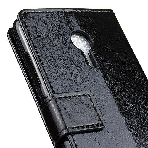 Lusee® PU Caso de cuero sintético Funda para Lenovo ZUK Edge Cubierta con funda de silicona botón caballo Loco patrón negro