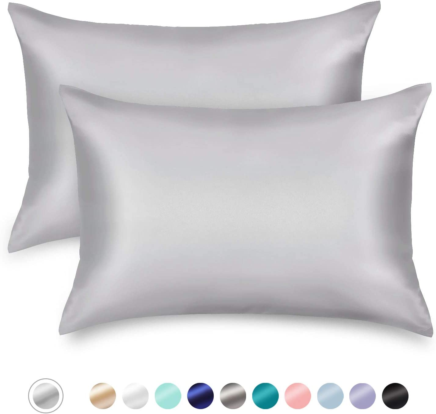 ZAMAT Silky Satin Pillowcases Set of 2, Luxury Soft Pillow Case for Hair and Skin, Wrinkle, Fade Resistant, Cooling Pillow Cover with Envelope Closure (Silver Grey, Queen)
