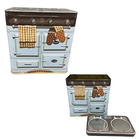 Box Lata para alimentos forma Estufa Vintage Azzurra Mis. 183 x 106 x 218 mm