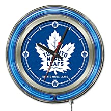 Holland Bar Stool NHL Toronto Maple Leafs Double Neon Ring 15-Inch Diameter Logo Clock