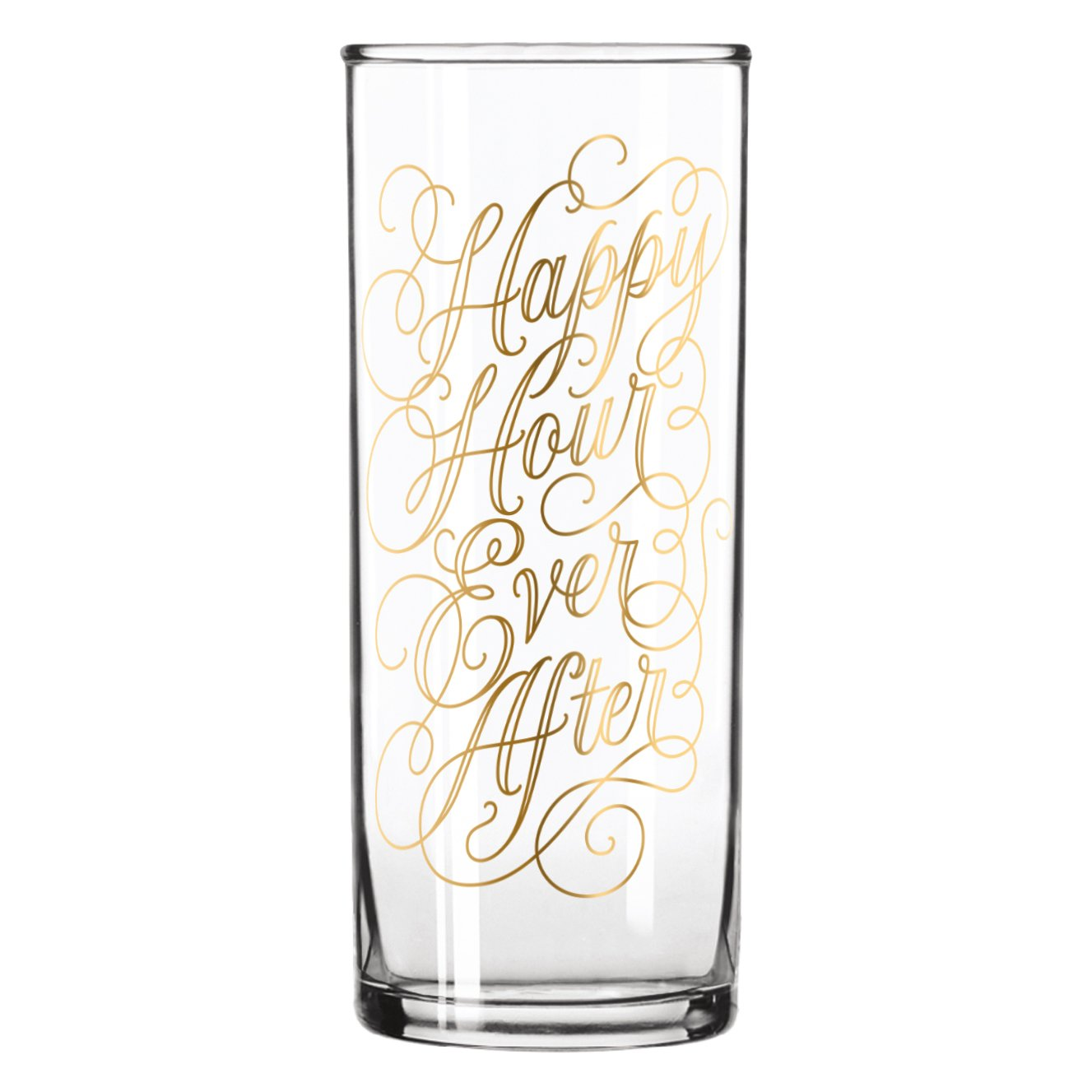 Easy, Tiger Tall Cocktail Glass with Foil, Gold''Happy Hour Ever After'' (12 oz)