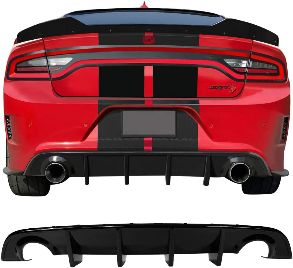 2016 2017 2018 2019 Factory Style PP Splitter Spoiler Valance Chin Diffuser Body Kit Gloss Black Rear Bumper Lip Diffuser Compatible With 2015-2020 Dodge Charger SRT IKON MOTORSPORTS