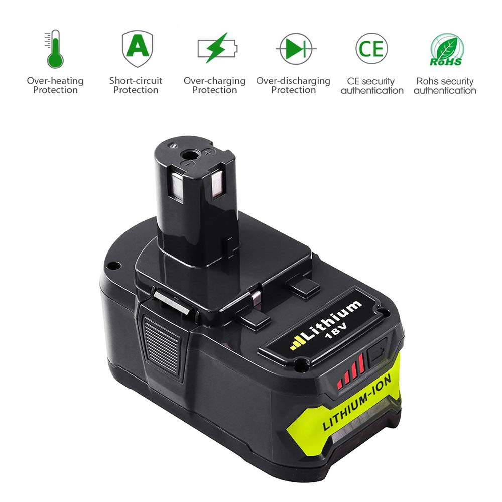 Hochstern RB18L50 18V 5.0Ah Li-Ion Batteria Sostitutiva per Ryobi One P108 RB18L40 RB18L25 RB18L15 RB18L13 P108 P107 P122 P104 P105 P102 P103 con indicatore LED