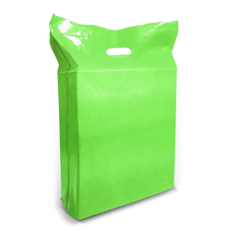 녹색 플라스틱 상품 쇼핑 가방-100 팩 15 18X1.25 밀 두께 2 에서 마치|커트 손잡이|에 대한 완벽한 소매 파티 선물 생일 파티|녹색|100%재활용