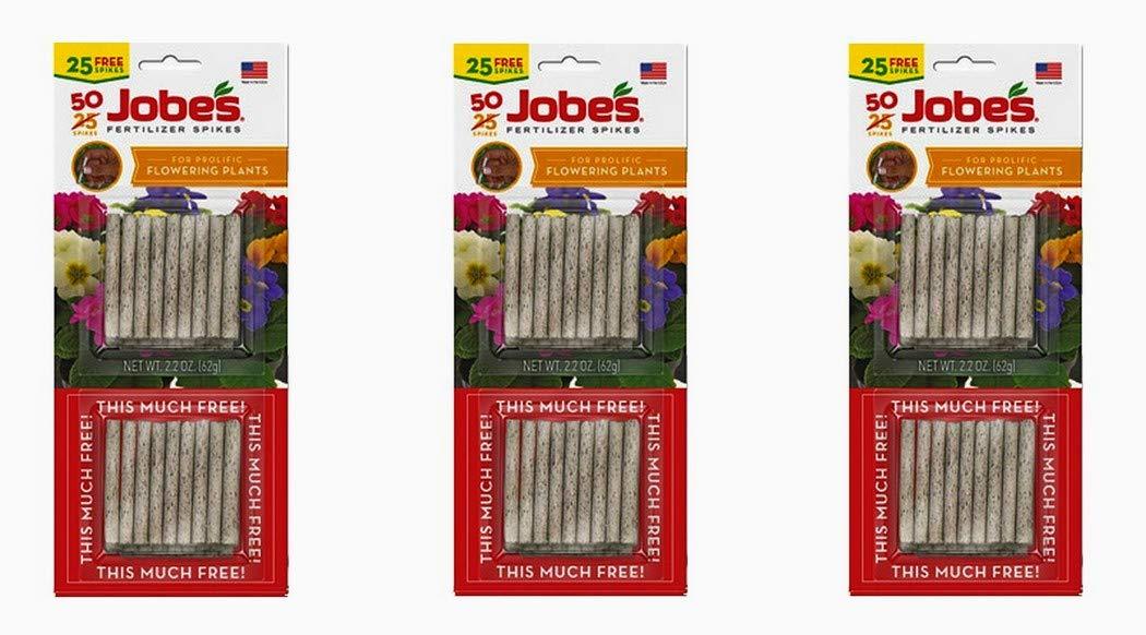 Jobe's 05231T Flowering Plant Fertilizer Spikes 10-10-4, 3 Pack Multicolor