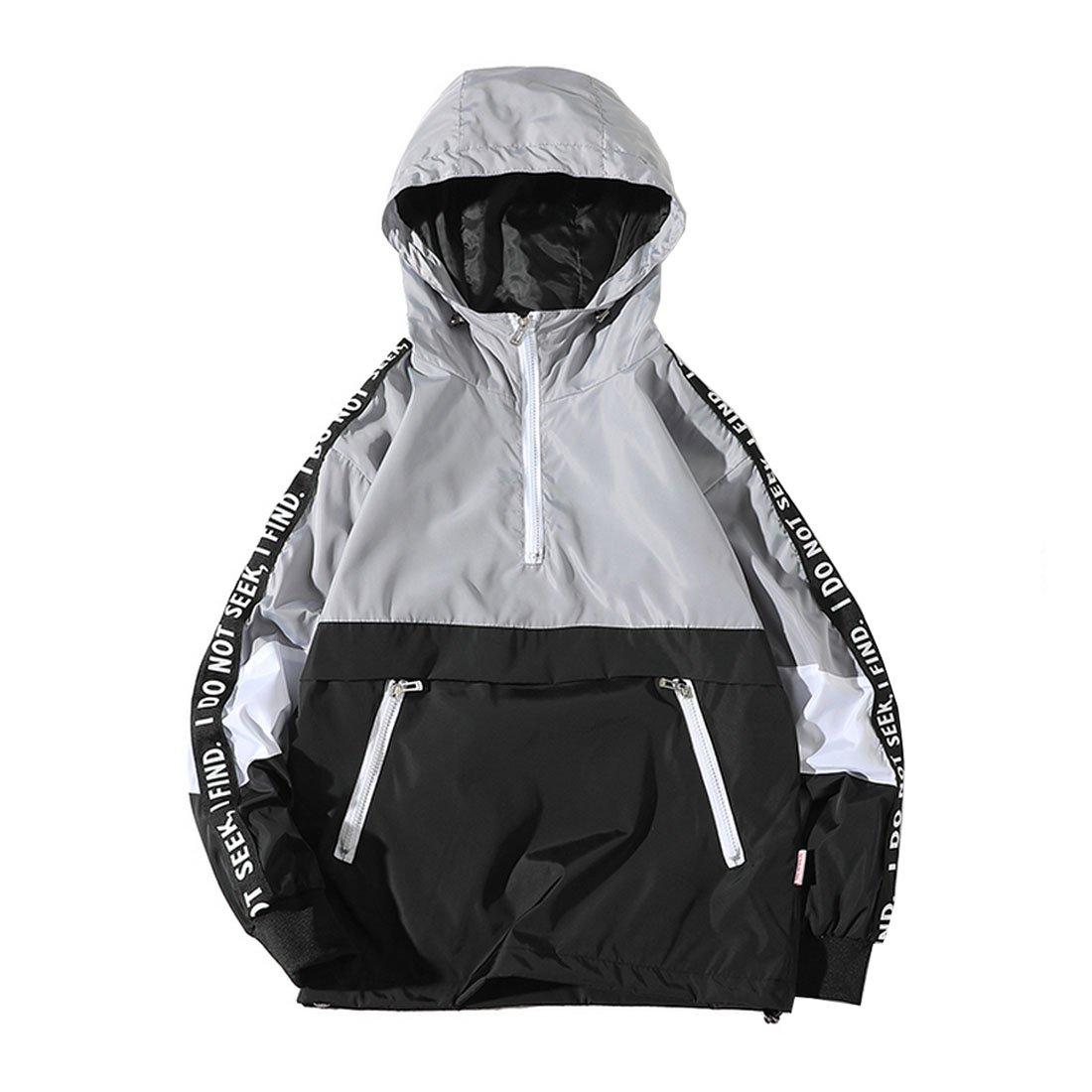 Hzcx Fashion Mens Pullover Hooded Waterproof Lightweight Windbreaker Jackets(Grey,S) by Hzcx Fashion