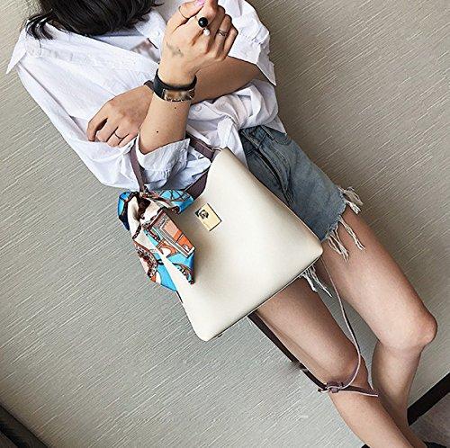Mujer El Nuevo Color Costura Bolso Del Cubo Bufanda De Seda Bolso Todo-fósforo Bolso White