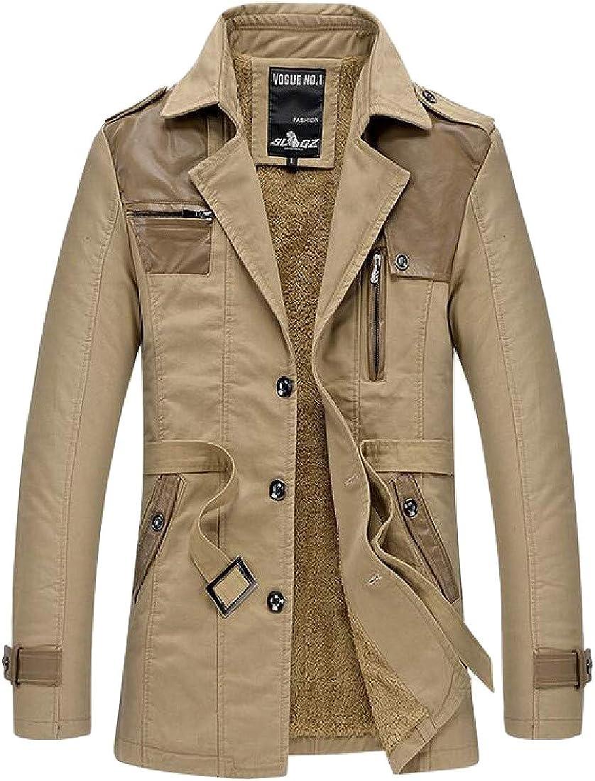 C/&H Men Outwear Classic Single Breasted Fleece Coat Parkas Jacket