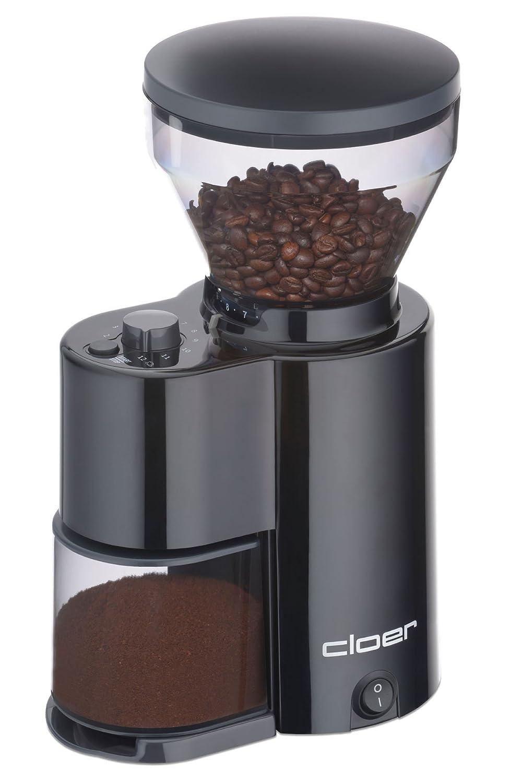 cloer 7520 Elektrische Kaffeemühle mit Kegelmahlwerk für 2-12 Tassen und 300 g Kaffeebohnen, 150 W, Verstellbarer Mahlgrad, schwarz Cloer Elektrogeräte GmbH