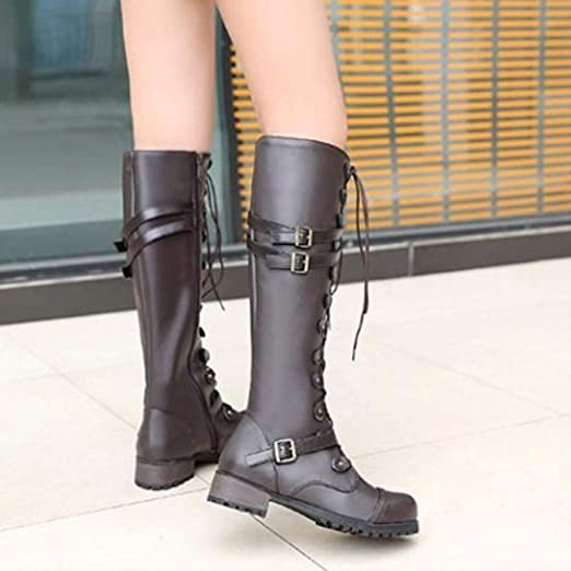 Amazon.com: AgrinTol Women Steampunk Gothic Vintage Style Retro Punk Buckle Military Combat Boots: Health & Personal Care