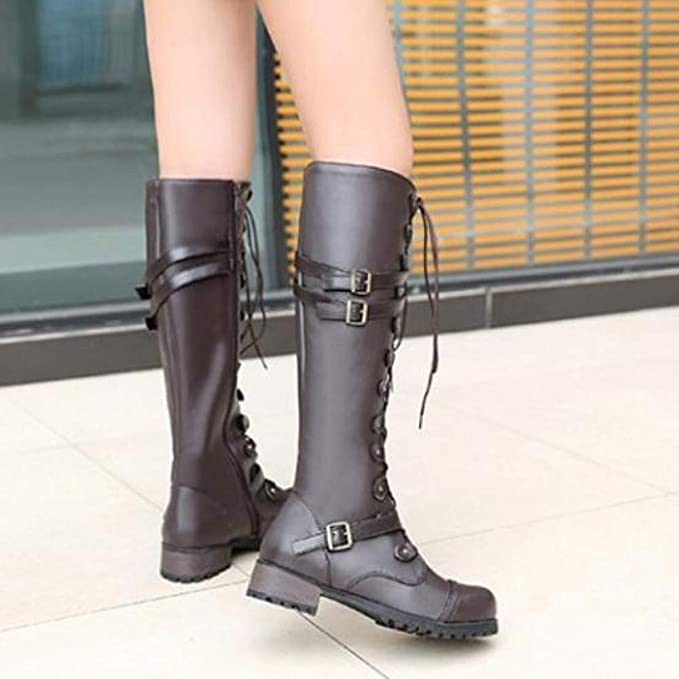 Amazon.com: Shusuen Fashion Womens Knee High Studded Punk Grunge Spiky Winter Boots Buckle Strap Martin Bootie: Clothing