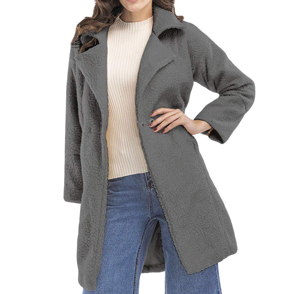 ❤️Manteau Veste Femme Blouson Amlaiworld Femmes Mode Manteau Moelleux à glissière à Manches Longues Pardessus Veste Longue Manteau de Laine