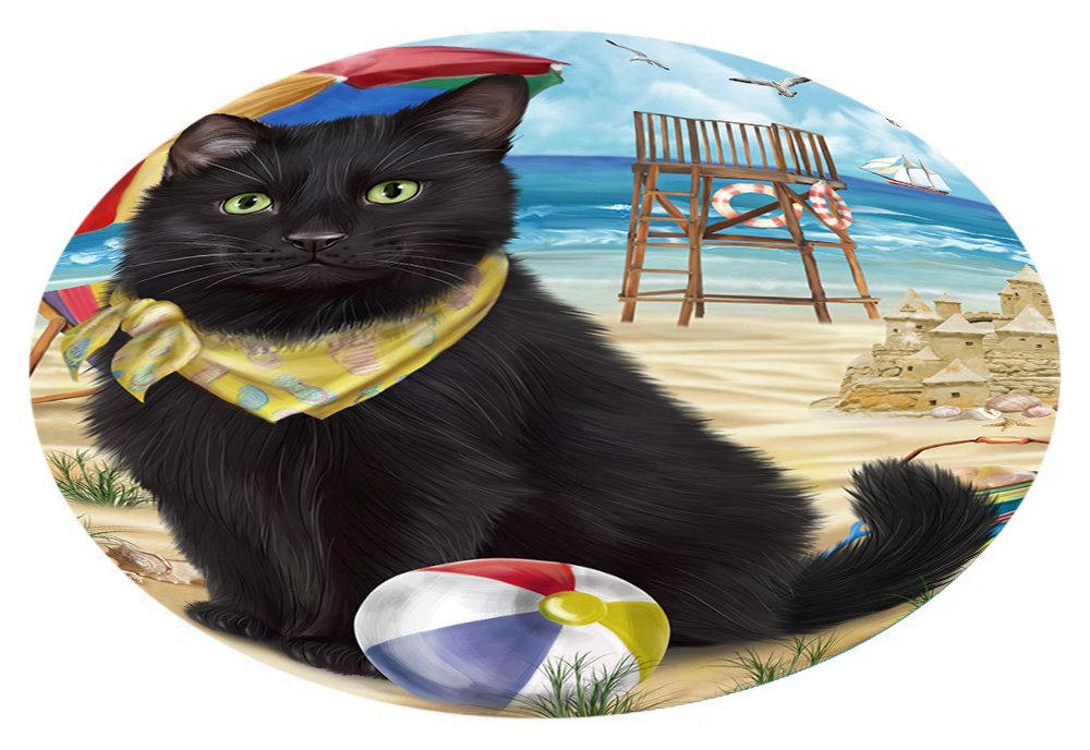 Doggie of the Day Pet Friendly Beach Black Cat Oval Envelope Seals OVE62204 (20)
