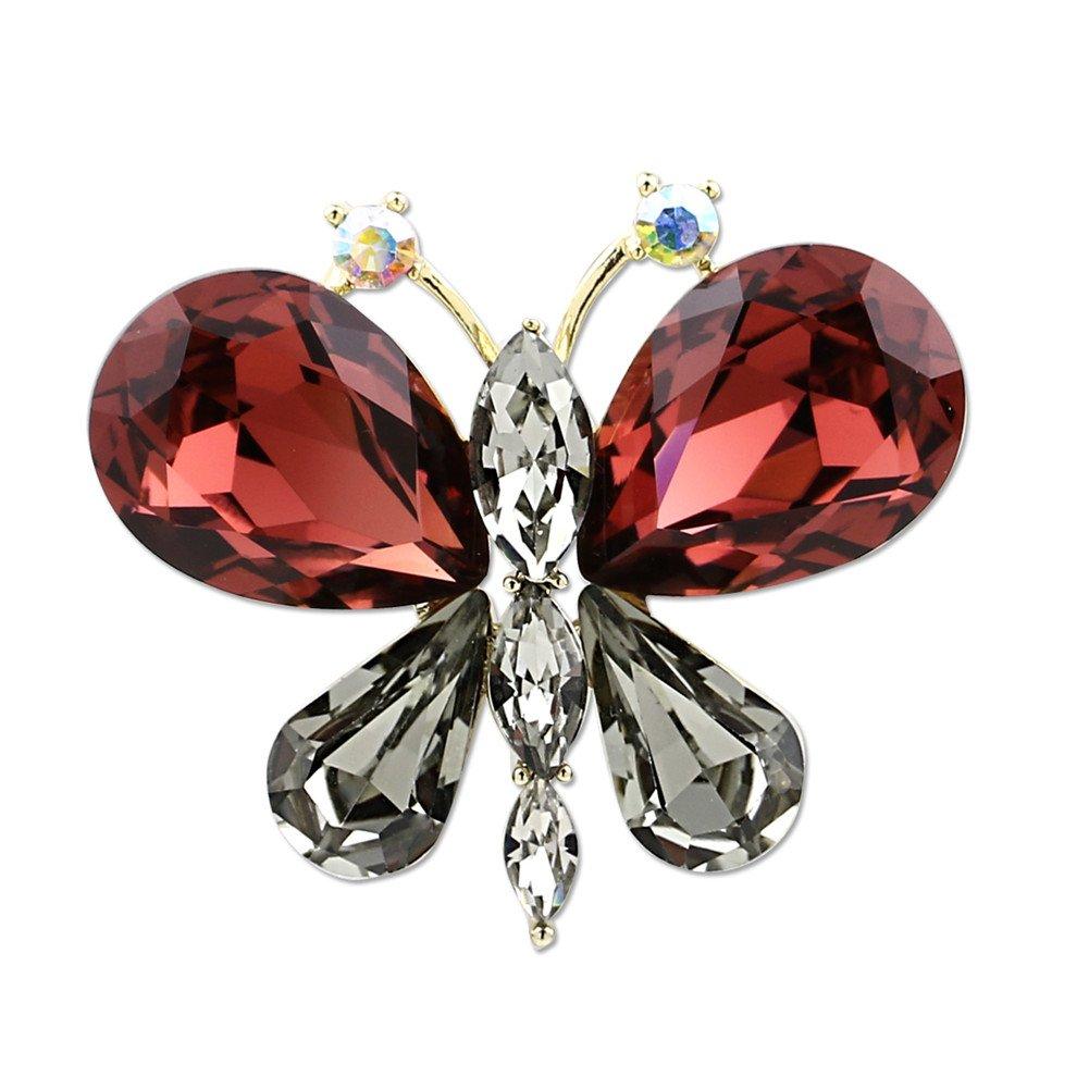 Women Girl Alloy Rhinestone Butterfly Crystal Brooch Pendant Dual Use Diamond Brooch Pins For Women