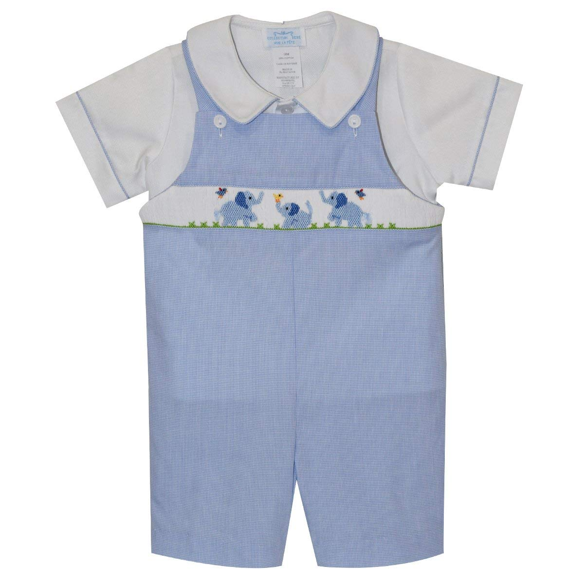 Collection Bebe Baby Elephants Smocked Boys Shortall Short Sleeve
