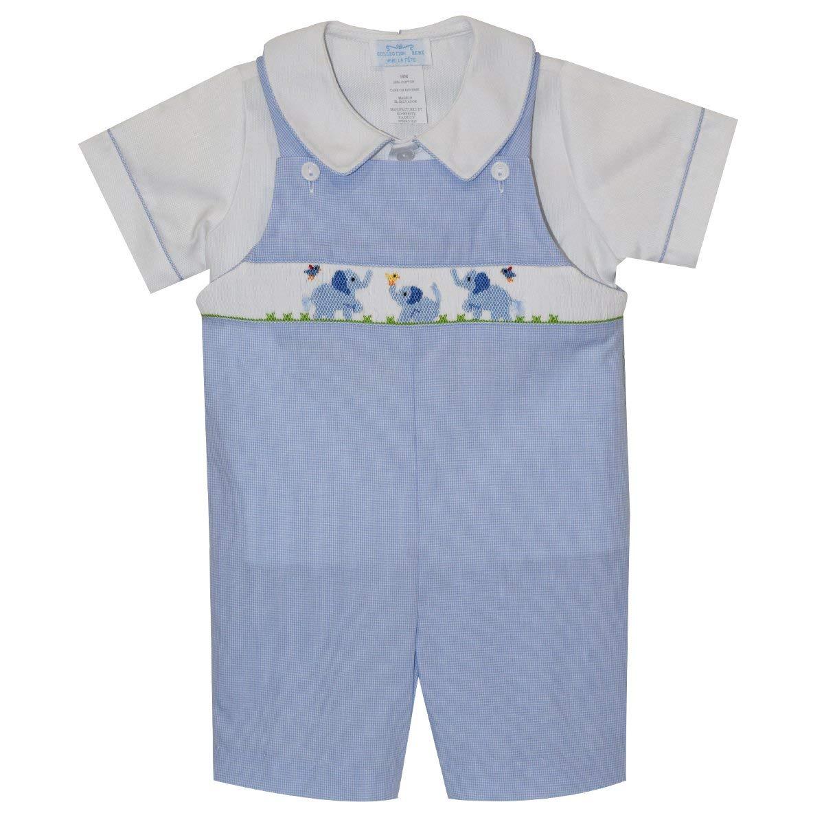 Collection Bebe Baby Elephants Smocked Boys Shortall Short Sleeve Blue