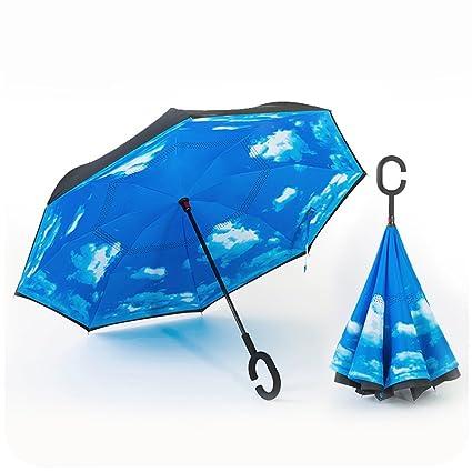 Tipo C paraguas invertido puede levantarse paraguas de doble capa de estilo libre reverso para coches