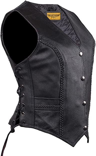 Big Size M ~ 3XL  NEW Motorcycle Leather vest jacket simple model with lace