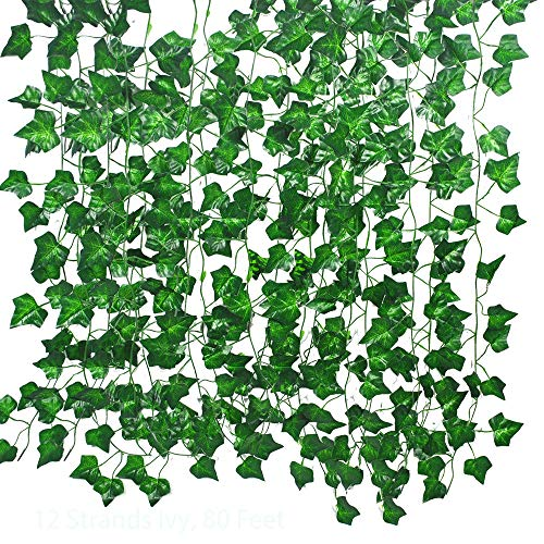 12 Pack 85 Feet Artificial Ivy Hanging Plant Silk English Ivy Vine Garland Arrangement Faux Fake Flower Green Leaves Wreath Home Kitchen Garden Decor