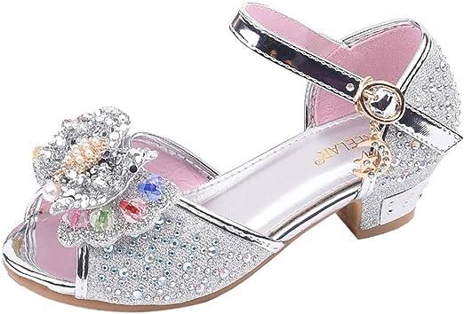 Toddler Sandals Girls Pearl Bowknot Decor Sparkle Princess Dress Dance Party School Uniform Shoes