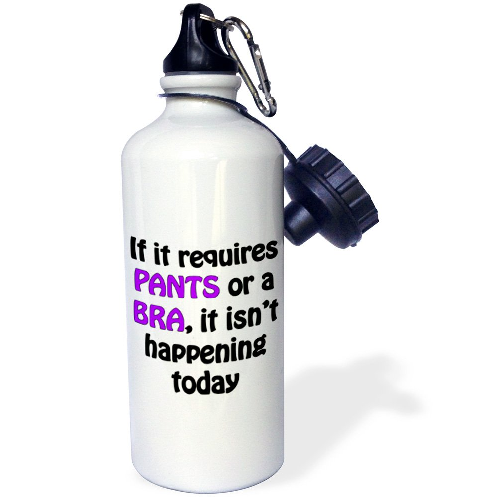 Purple and Black-Sports Water Bottle 21oz wb/_212370/_1 3dRose Requires Pants Or A Bra 21 oz Multicolor