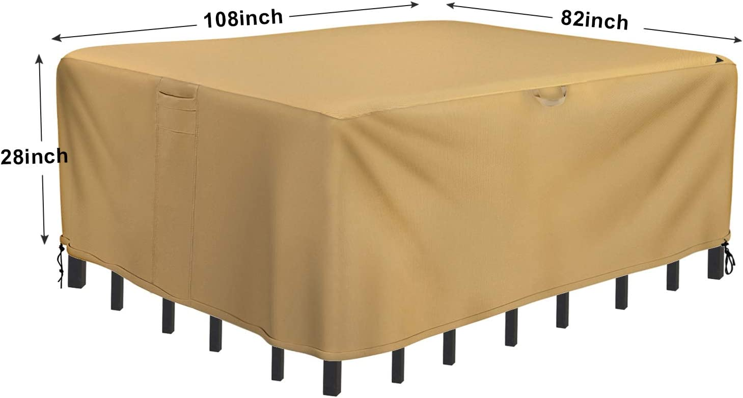 Amazon Com Sunkorto Patio Table Chair Cover Rectangle Oval Furniture Set Cover Waterproof Uv Resistant For Outdoor 108x82 Inch Garden Outdoor