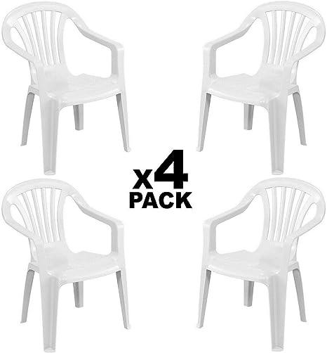 GLIFE 4X Sillas plásticas para Terraza Jardín Patio Playa Camping Blancas apilables: Amazon.es: Deportes y aire libre