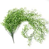 Crt Gucy 44.5'' Artificial Fake Hanging Flowers String Plant Vine For Home Garden Wall Decoration, White Green
