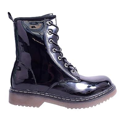 Cheap Womens Ladies Ankle Boot Combat Flat Grip Faux Fur Pit Winter Shoe Size