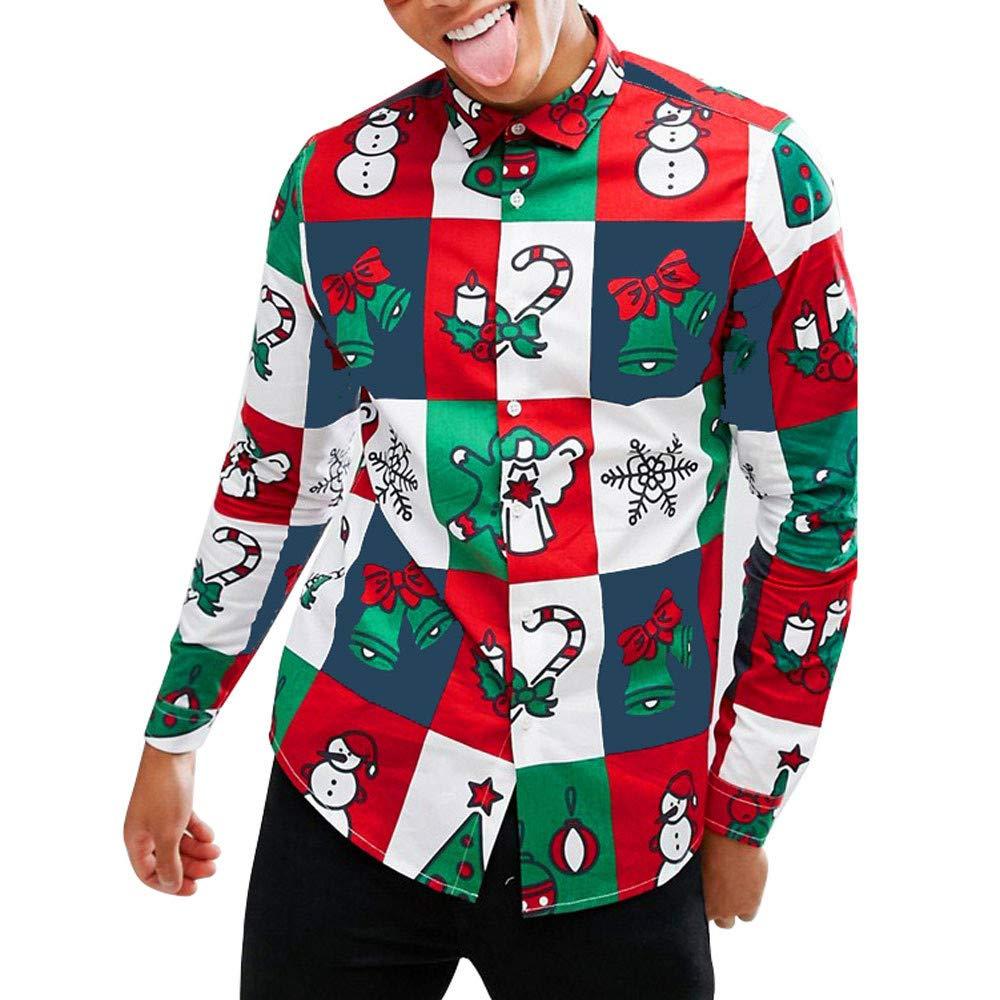 Longra ☂☂ ☂☂ ☂☂☞☞♥♥Happy Christmas Mens Snowman Impreso Camisa de Manga Larga de Manga Larga Blusa Delgada: Amazon.es: Ropa y accesorios