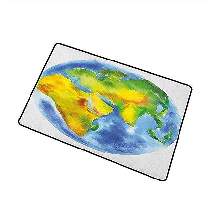 Amazon.com: Sillgt Earth - Felpudo, diseño de dibujo del ...