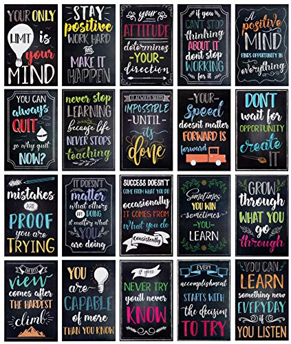 (Juvale 20-Pack Motivational & Inspirational Quotes Posters for Teachers, Classroom & Office, 13 x 19 Inches)